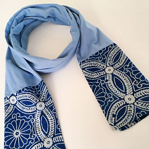 Indigo Block Print & French Blue Jersey Cotton Scarf