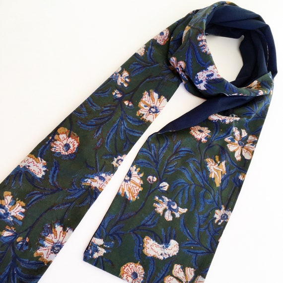 Floral Cotton and Navy Jersey Block Print Scarf