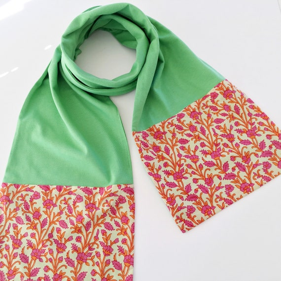Apple Green and Floral Block Print Cotton & Jersey Scarf