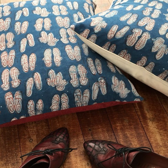 Red Shoes Indigo Block Print Cotton Cushion Cover