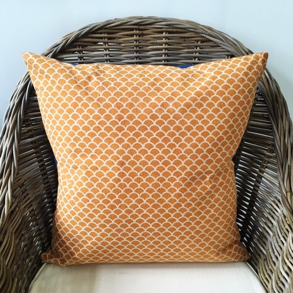 Mustard Yellow Block Print Cotton Cushion Cover