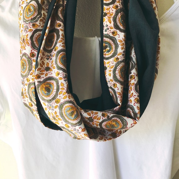 Floral and Green blockprint infinty scarf