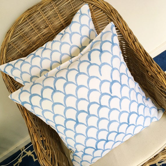 Sky Blue Block Print Cotton Cushion Cover