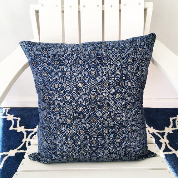 Indigo & Denim Block Print Cotton Cushion Cover