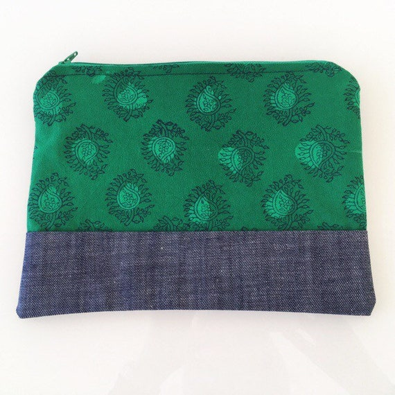 LARGE Zippered Pouch Green Paisley and Denim Blue