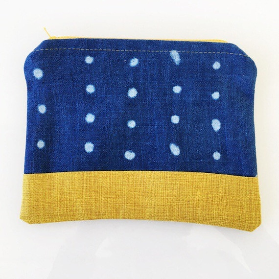 SMALL Zippered Pouch Indigo Blue Dot and Mustard Yellow