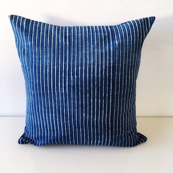 Indigo Stripe Block Printed Cotton Cushion Cover