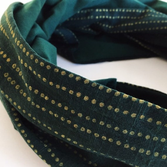 Green and yellow dot blockprint and bottle green jersey infinty scarf
