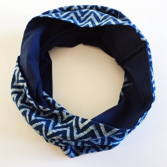 Indigo chevron blockprint and navy jersey infinty scarf