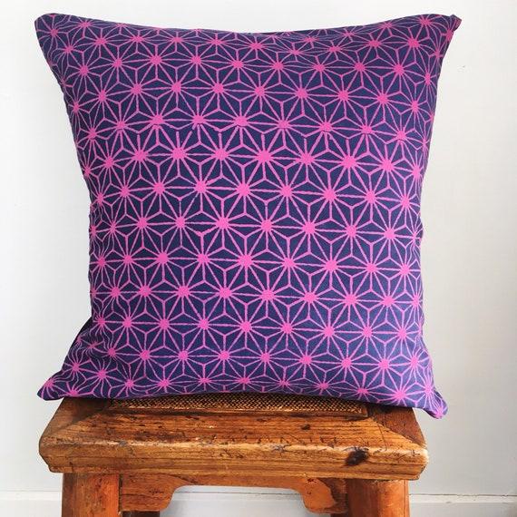 Purple Pink & Indigo Block Print Cotton Cushion Cover