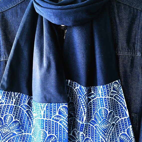 Indigo Block Print Cotton & Navy Jersey Scarf