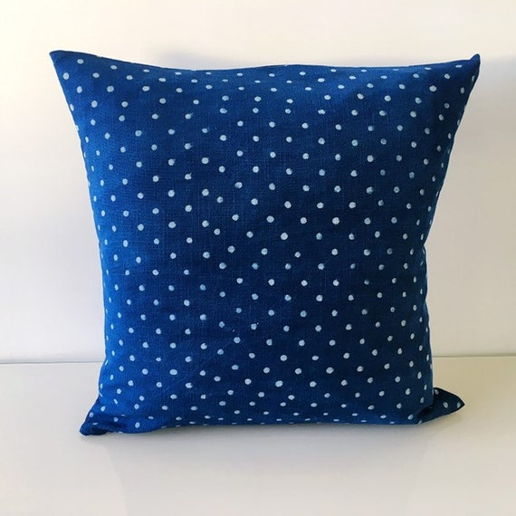 Indigo Spot Block Printed Cotton Cushion Cover