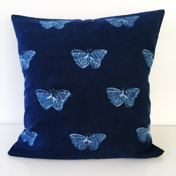 Indigo Butterfly Block Print Cotton Cushion Cover