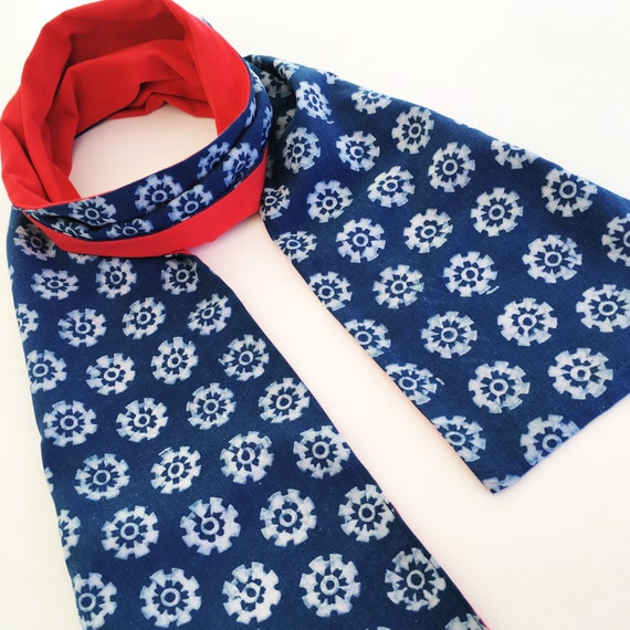 Indigo Cotton and Bright Red Jersey Block Print Scarf