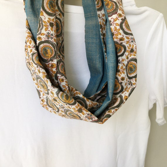 Floral and Light Blue blockprint infinty scarf