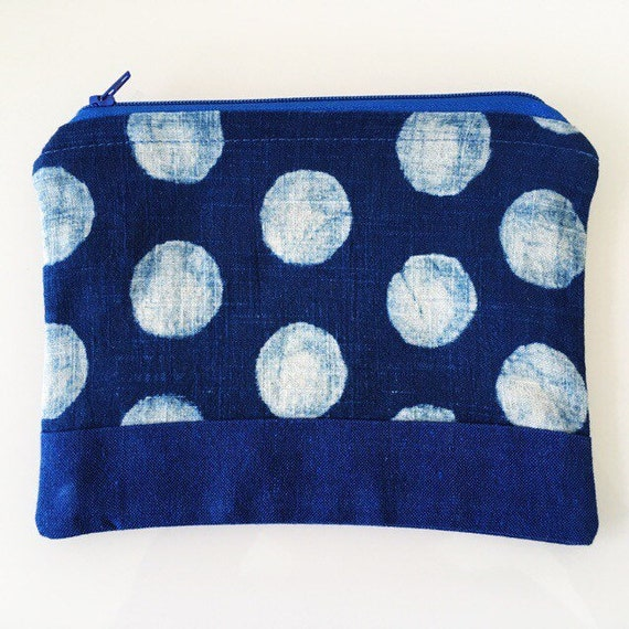 SMALL Zippered Pouch Indigo Blue Dot