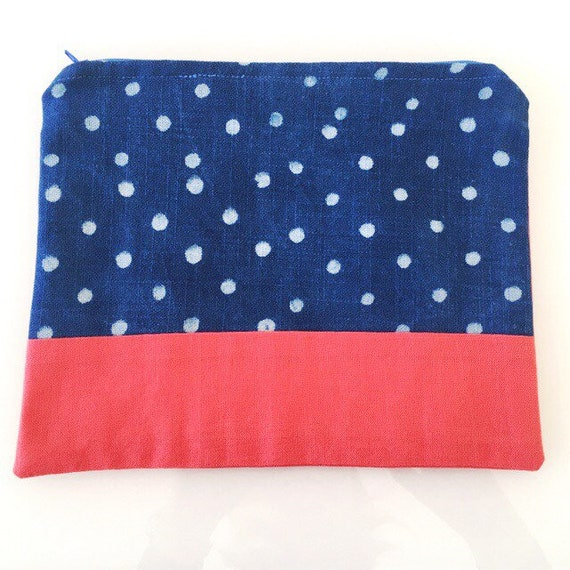 LARGE Zippered Pouch Indigo Spots and Coral Pink