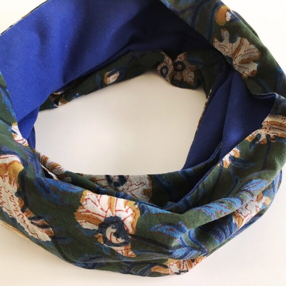 Floral blockprint and cornflower blue jersey infinty scarf