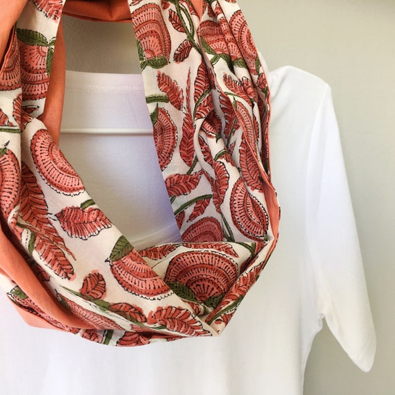 Salmon Pink Floral blockprint infinty scarf