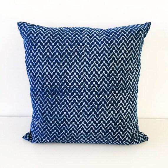 Indigo Chevron & Block Print Cotton Cushion Cover