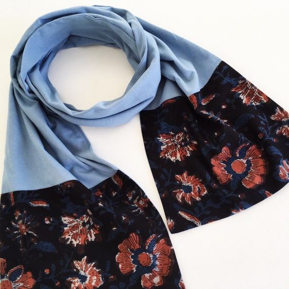 French Blue Jersey & Floral Block Print Cotton Scarf