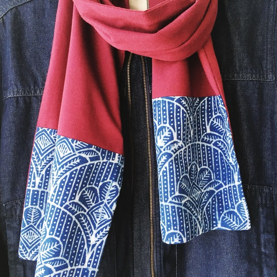 Indigo Cotton and Maroon Jersey Block Print Scarf