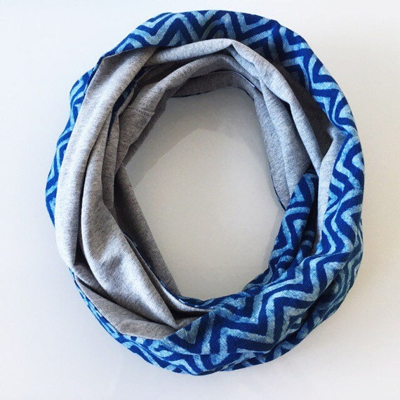 Indigo blockprint and grey marle jersey infinty scarf