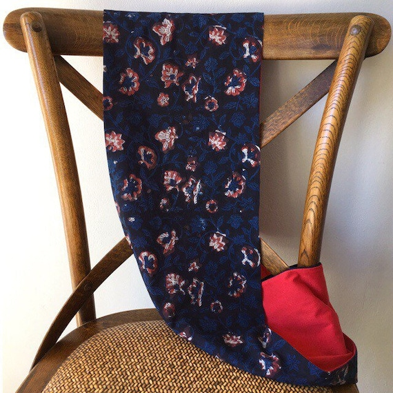 Floral blockprint and Spanish red jersey infinty scarf