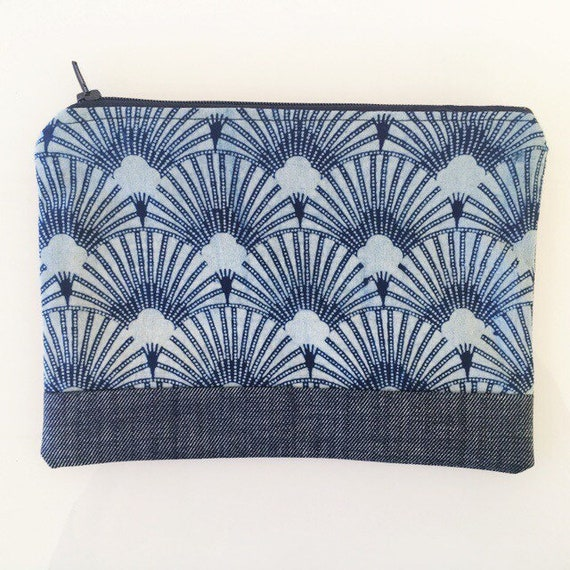 SMALL Zippered Pouch Indigo and Denim Blue