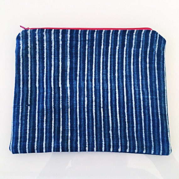 LARGE Zippered Pouch Indigo Blue Stripe