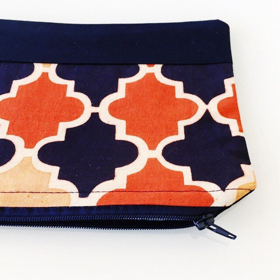 SMALL Zippered Pouch Navy and Orange Moroccan