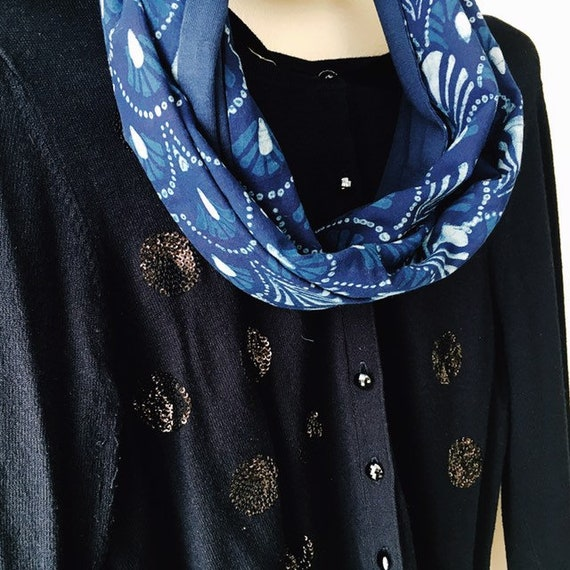 Indigo blockprint and french navy jersey infinty scarf