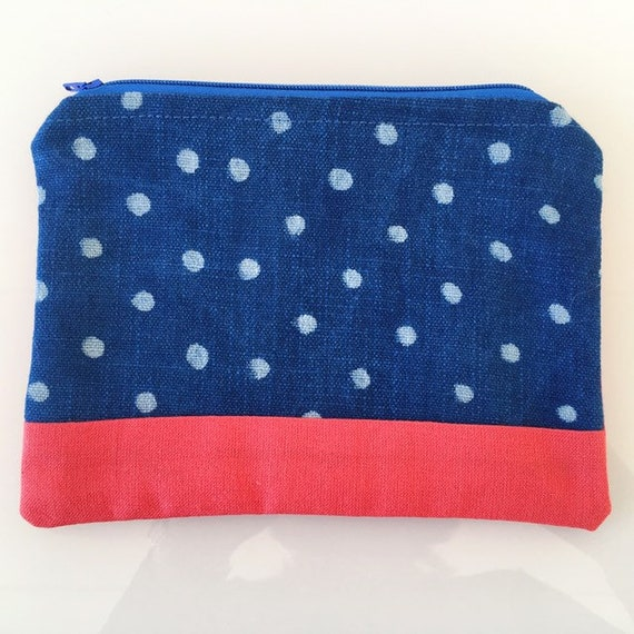 SMALL Zippered Pouch Indigo Spots and Coral Pink