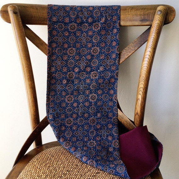 Ajrakh Indigo blockprint and maroon jersey infinty scarf