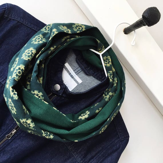 Floral blockprint and bottle green jersey infinty scarf
