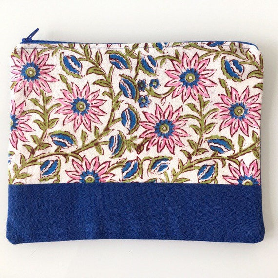 LARGE Zippered Pouch Floral and Royal Blue