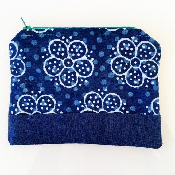 SMALL Zippered Pouch Indigo Blue and Kelly Green