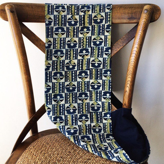Ajrakh yellow and indigo block printed cotton and navy jersey infinity scarf