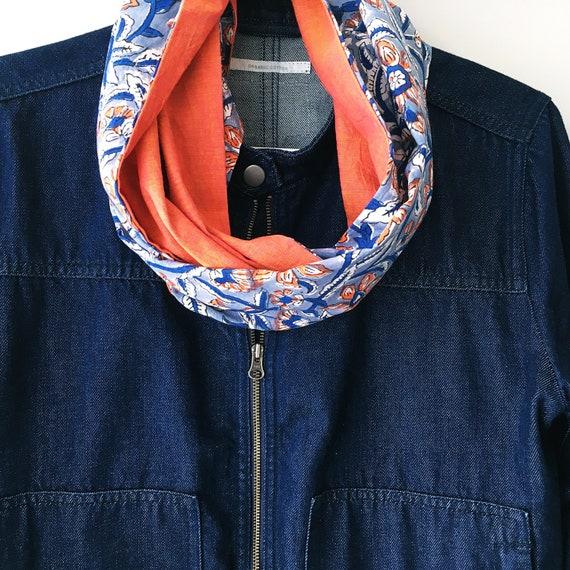 Blue And Orange Floral blockprint infinty scarf