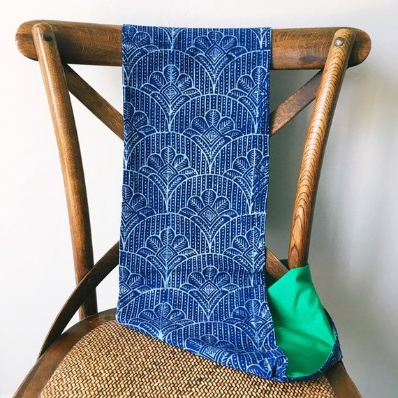 Indigo blockprint and Kelly Green jersey infinty scarf