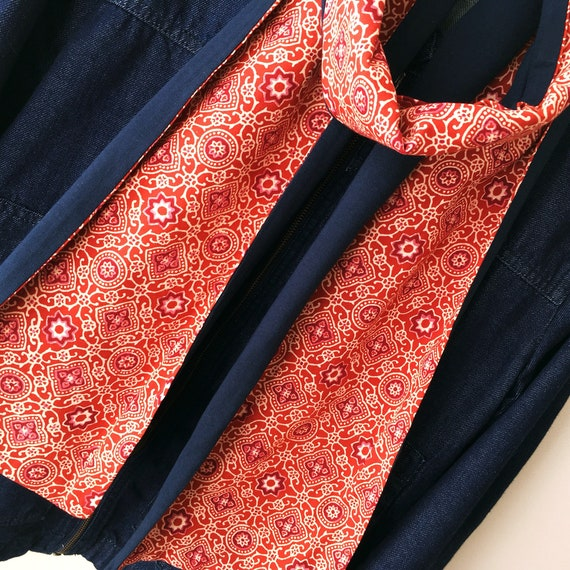 Red Orange Ajrakh blockprinted and Navy Jersey Scarf