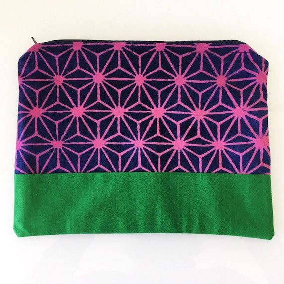 LARGE Zippered Pouch Pink Purple and Green