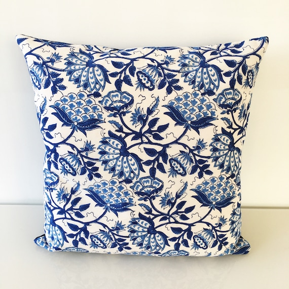 Blue and White Floral Block Print Cotton Cushion Cover