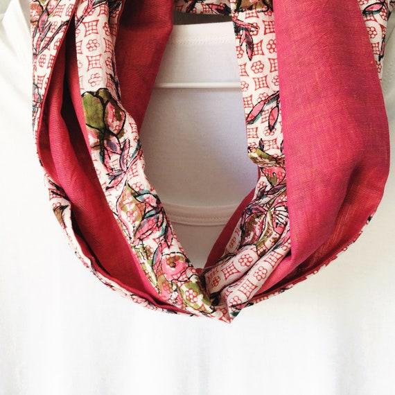 Pink Floral blockprint infinty scarf