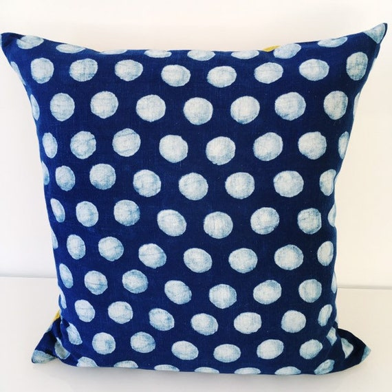 Indigo Spot & Mustard Yellow Block Print Cotton Cushion Cover