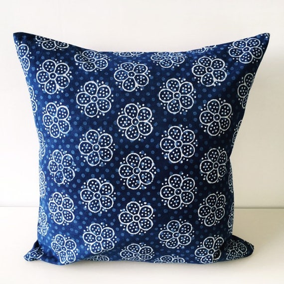 Indigo Flower Block Print Cotton Cushion Cover