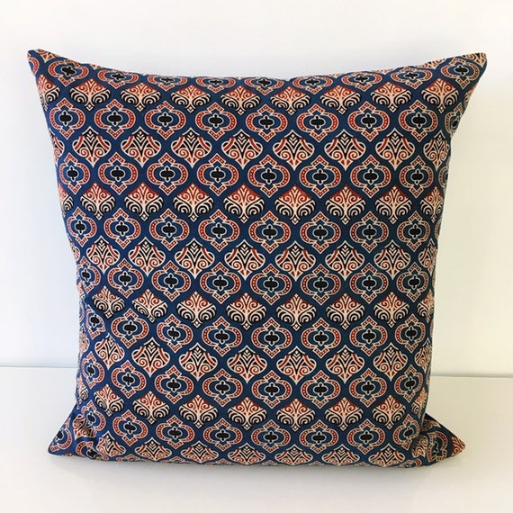 Blue Red Ajrakh Block Print Cotton Cushion Cover