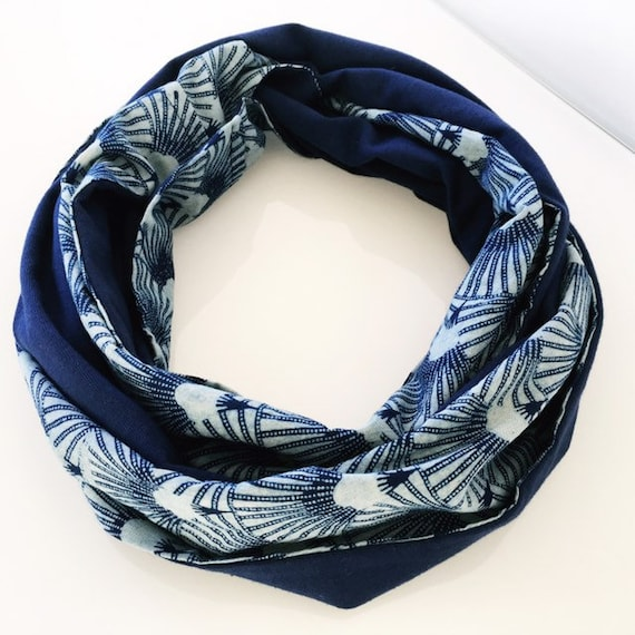 Indigo blockprint and navy jersey infinty scarf