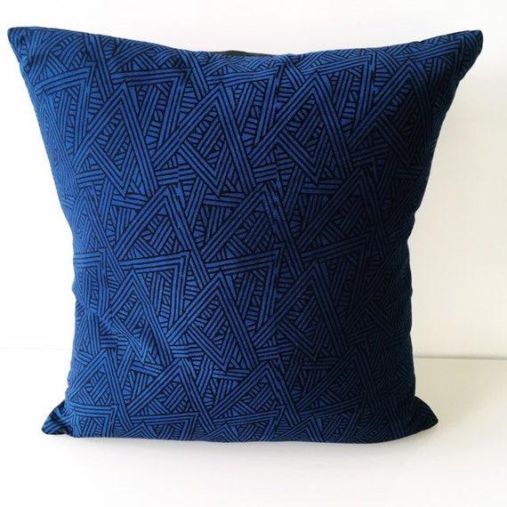 Blue and Black Geometric Block Print Cotton Cushion Cover