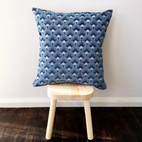Indigo & Purple Block Print Cotton Cushion Cover